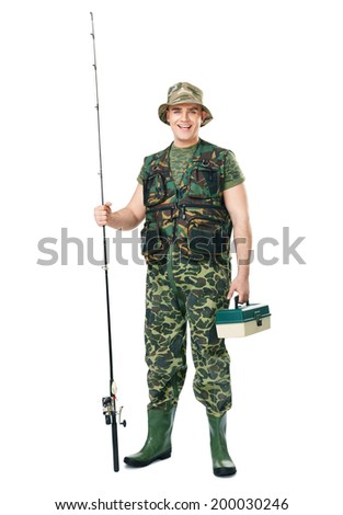 Full length portrait of a young happy laughing fisherman in camouflage holding a fishing equipment isolated on white background - stock photo