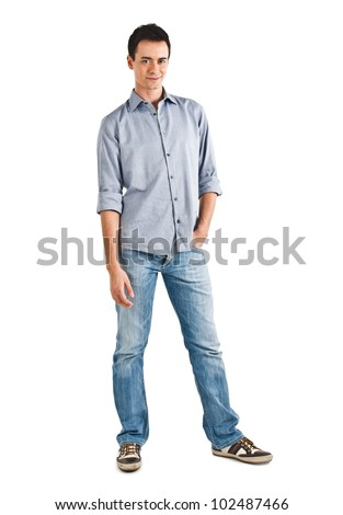 Full length portrait of a young man - stock photo