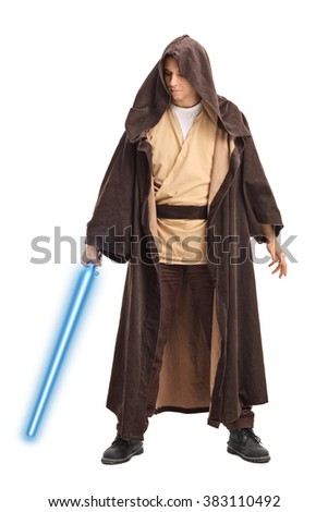 Full length portrait of a young warrior with brown hooded cape holding a laser sword isolated on white background - stock photo