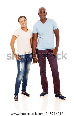 full length portrait of african couple on white - stock photo