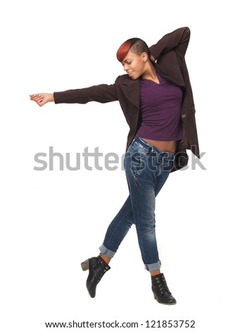 Full length portrait of an African American young woman dancing. Isolated on white background - stock photo