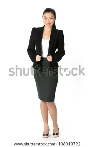 Full length portrait of an Asian Business woman standing. Isolated on white background.
