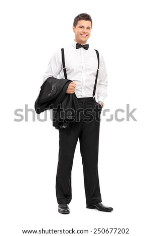 Full length portrait of an elegant man carrying his coat and posing isolated on white background - stock photo