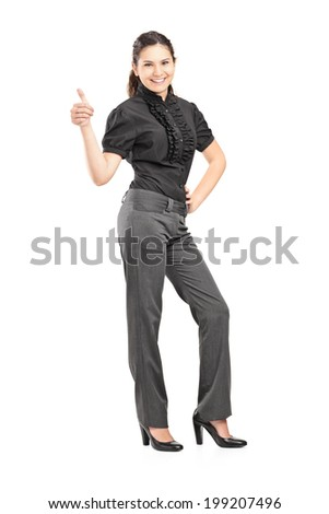 Full length portrait of an elegant woman giving a thumb up isolated on white background - stock photo