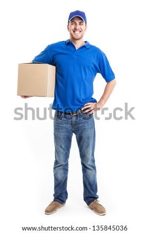Full length portrait of an handsome deliverer - stock photo