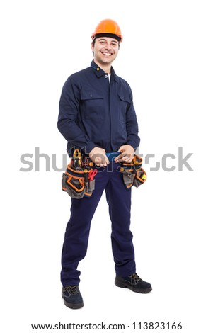 Full length portrait of an happy worker - stock photo