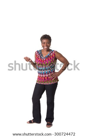 Full length portrait of an older middle aged woman isolated on white - stock photo