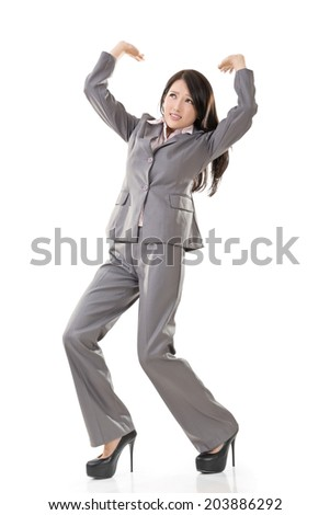 Full length portrait of Asian business woman under stress, isolated on white background.