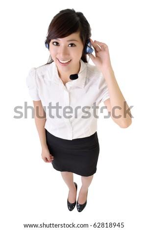Full length portrait of Asian customer service isolated on white. - stock photo