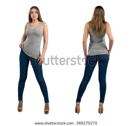 Full length portrait of attractive and hot girl in casual clothes, isolated on white background. Front, rear view - stock photo