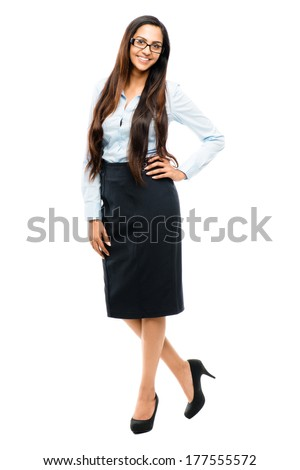 Full length portrait of attractive Indian businesswoman on white background - stock photo