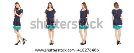 Full length portrait of beautiful teen in dress isolated - stock photo