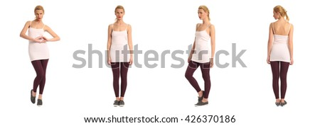 Full length portrait of beautiful teen in leggings isolated
