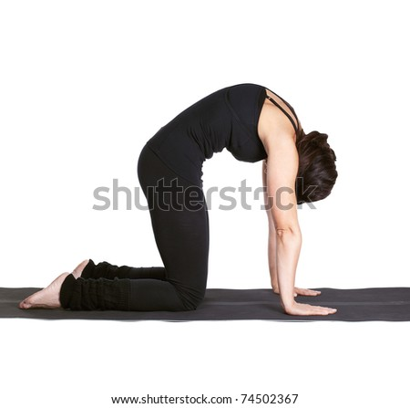 full-length portrait of beautiful woman working out yoga excercises mardzhariasana on fitness mat - stock photo