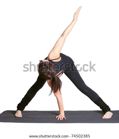 full-length portrait of beautiful woman working out yoga excercises on fitness mat - stock photo