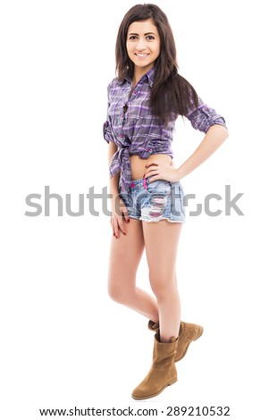 Full length portrait of beautiful young caucasian woman wearing fashionable casual clothes isolated on white background - stock photo