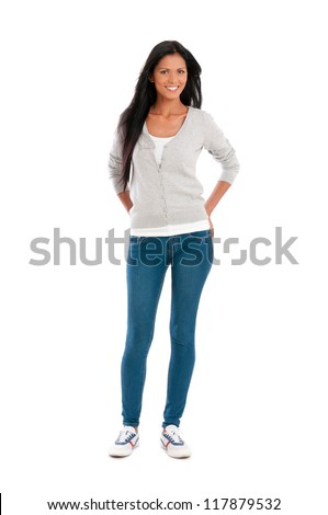 Full length portrait of beautiful young hispanic woman smiling isolated on white background - stock photo
