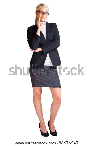 Full length portrait of blond business woman isolated on white background.