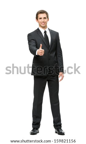 Full-length portrait of business man who thumbs up, isolated on white. Concept of leadership and success - stock photo