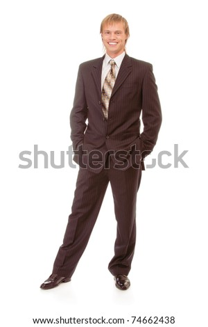 full-length portrait of businessman in black suit, isolated on white background. - stock photo
