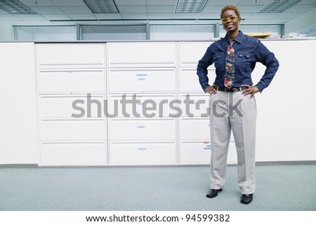 Full length portrait of businesswoman - stock photo