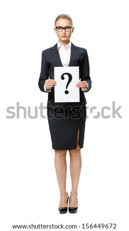 Full-length portrait of businesswoman handing question mark, isolated. Concept of problem and solution - stock photo