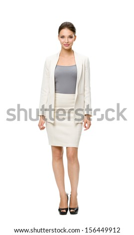 Full-length portrait of businesswoman, isolated on white. Concept of leadership and success - stock photo