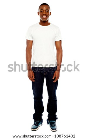 Full length portrait of casual adult man isolated against white background