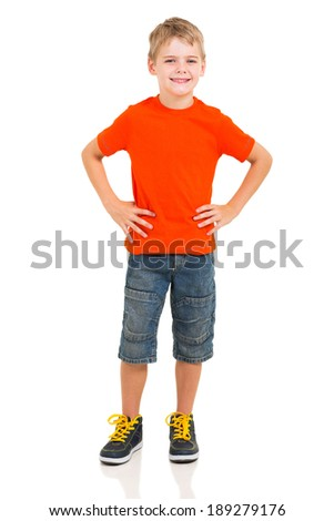 full length portrait of cute boy isolated on white background - stock photo