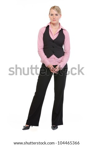 Full length portrait of employee woman - stock photo