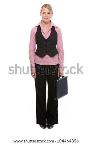 Full length portrait of employee woman with briefcase - stock photo