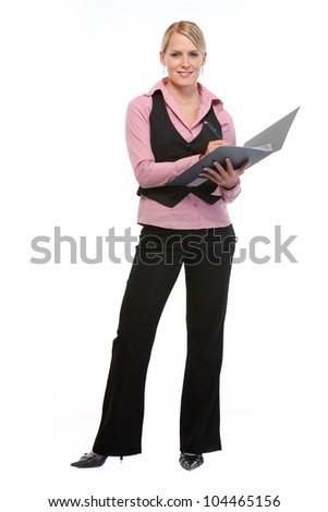 Full length portrait of employee woman writing in folder - stock photo