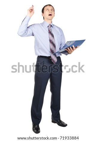 Full length portrait of excited businessman with finger pointing up, isolated on white - stock photo