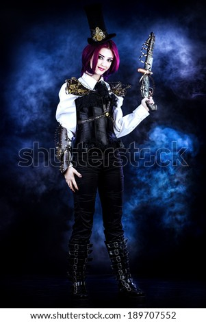 Full length portrait of girl in a stylized steampunk costume holding a gun. Anime.