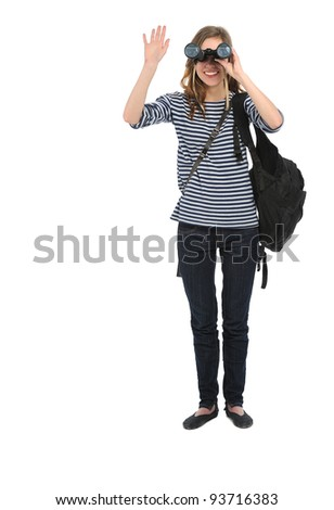 full length portrait of girl with binocular looking at camera on white background - stock photo