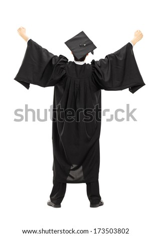 Full length portrait of graduate student with raised hands isolated on white background, rear view - stock photo