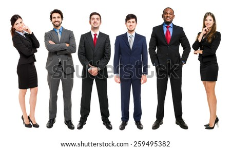 Full length portrait of group of business people, isolated.
