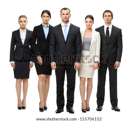 Full-length portrait of group of managers, isolated on white. Concept of teamwork and cooperation
