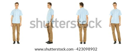 Full length portrait of handsome boy in pants isolated - stock photo