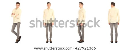 Full length portrait of handsome boy in slim jeans isolated