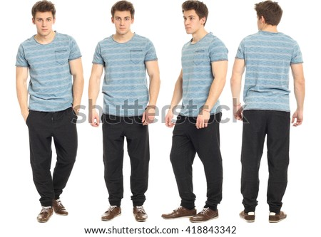 Full length portrait of handsome man in pants - stock photo