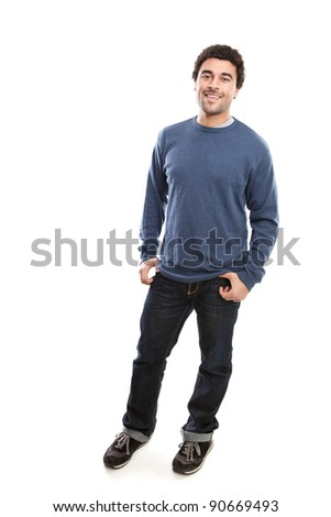 Full length portrait of handsome middle eastern man isolated on white