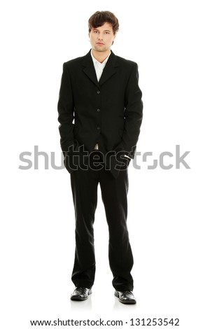 Full length portrait of handsome young businessman, isolated