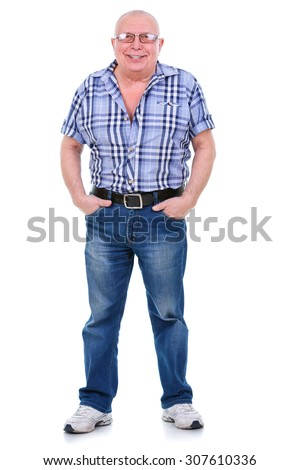 Full length portrait of Happy and white teeth smile 75 years old senior man standing in jeans and a shirt, put hands in pockets. Positive emotion facial expression feeling. Isolated white background - stock photo