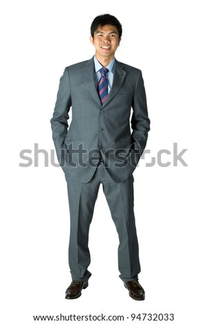 Full length portrait of happy Asian business man
