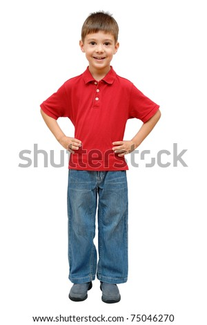 Full-length portrait of happy child isolated on white background - stock photo
