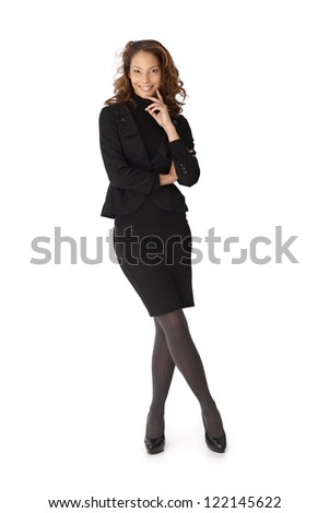 Full length portrait of happy confident businesswoman over white background.