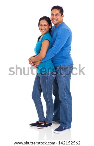 full length portrait of happy indian couple isolated on white background