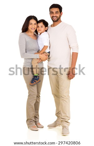 full length portrait of happy young indian family isolated on white - stock photo