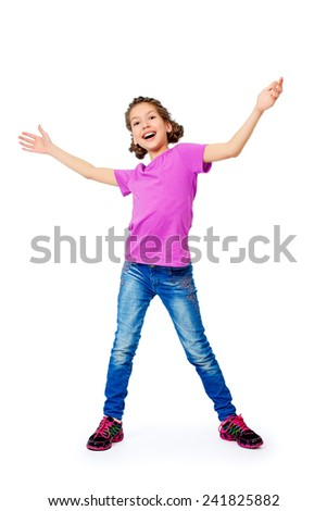 Full length portrait of joyful teen girl wearing casual clothes. Active lifestyle. Studio shot. Isolated over white. - stock photo